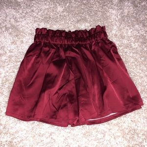 Pants - Red silky shorts